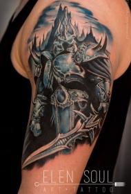 大臂插画风格恶魔王者肖像纹身图案