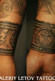 手腕水手手链船锚闪电纹身图案
