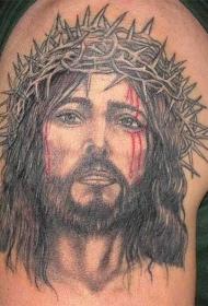 戴荆棘的流泪耶稣纹身图案