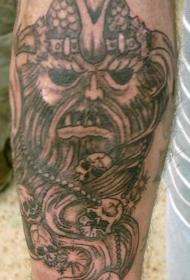 手臂棕色海盗和骷髅头纹身图片