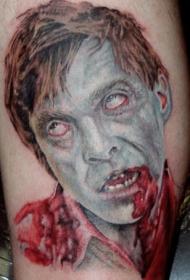 男子僵尸头纹身图案