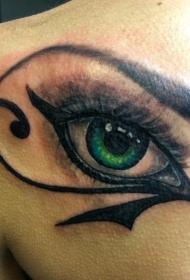 背部绿色眼睛荷鲁斯之眼纹身图案