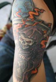 死神和满月火焰彩色纹身图案