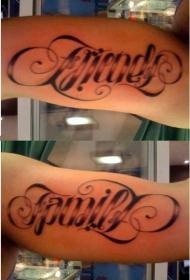 手臂黑色英文字母花体纹身图片