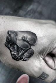 手部灰色逼真的小尺寸拳击手套纹身