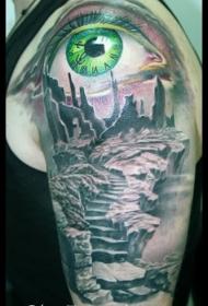 大臂彩色神秘废墟和绿色眼睛纹身图案