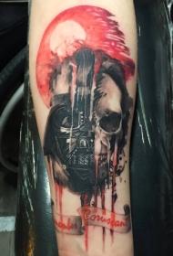 手臂彩色达斯·维德骷髅头盔纹身图案