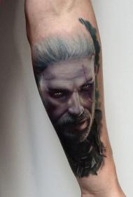 手臂现代风格的彩色游戏巫师纹身图案