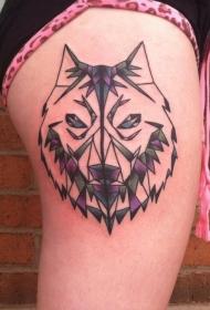 腿部彩色保鲁夫狼头几何风格纹身图案