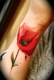 手臂水彩色红色罂粟花纹身图案