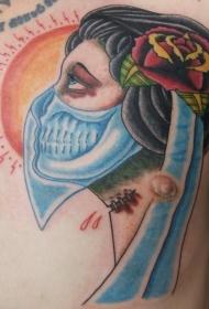 胸部老学校五彩的神秘女人肖像纹身