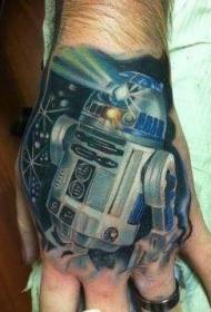 手背神秘的R2D2星球大战人物纹身