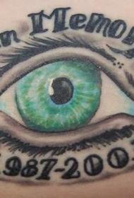 肩部彩色眼睛纪念纹身图案