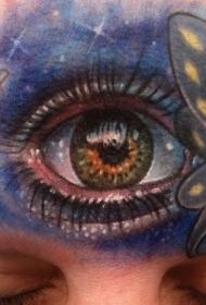 额头大胆的彩绘眼睛蝴蝶蜻蜓纹身图案