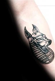 手臂插画式风格彩色埃及神兽纹身图案