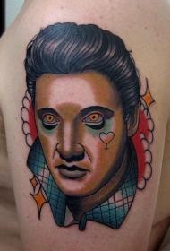 大臂现代风格彩色埃尔维斯肖像纹身图案
