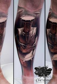 腿部原设计彩色个性人与鼓头纹身