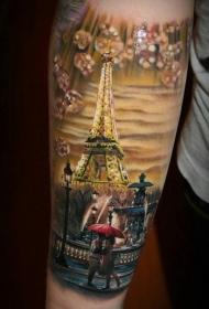 手臂现实主义风格的彩色夜间巴黎纹身