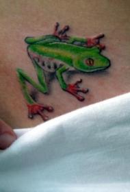 腰部彩色逼真的绿蛙纹身图案