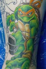 腿部彩色变种忍者神龟纹身图案