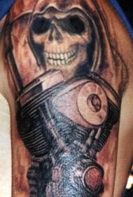 摩托车机械和死神纹身图案