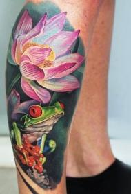 腿部现实主义风格彩色青蛙与莲花纹身
