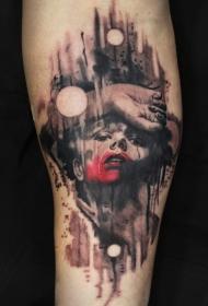 恐怖风格彩色血腥肖像纹身图案