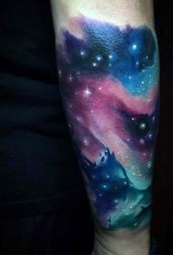 简单设计的手臂星空纹身图案