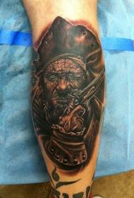 小腿黑暗系拿枪的海盗纹身图案