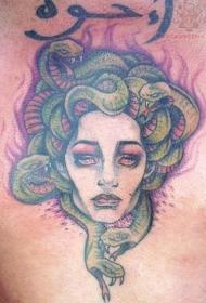 胸部水彩色美杜莎头像纹身图案