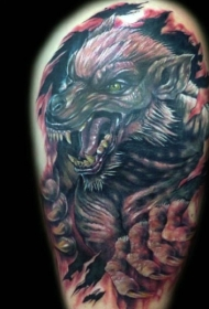 new school撕裂皮肤与邪恶狼人纹身图案