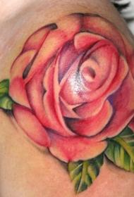 肩部彩色逼真的玫瑰花纹身图案