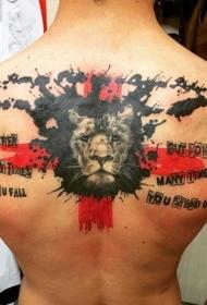 男士后背有趣的狮子头与红十字架纹身图案