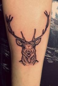 传统黑灰小清新点刺鹿纹身图案