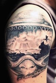 手臂现实主义风格雪山滑雪风景纹身图案