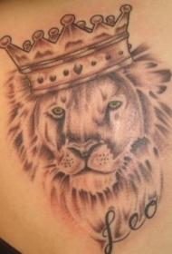 英文字母皇冠狮子纹身图案