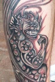 小腿搞笑的滴水怪兽纹身图案