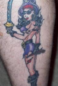 腿部彩色性感海盗女孩纹身图案