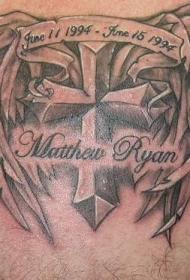 有翅膀的十字架纪念纹身图案