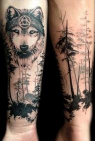 手臂神秘的狼与森林纹身图案