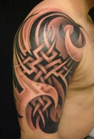 肩部黑色部落图腾纹身图案