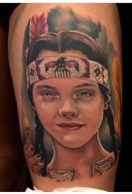 大腿印度女孩肖像彩色纹身图案