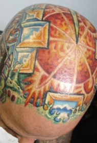 男性头部彩色个性纹身图案