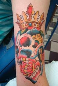 彩色皇冠骷髅嘴里有玫瑰纹身图案