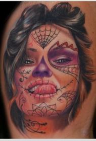 肩部彩色死亡女神肖像纹身图案