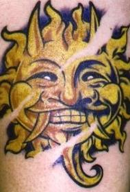 黄色太阳恶魔纹身图案