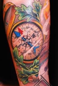 腿部彩色航海风格大指南针纹身图片