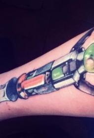 小臂五彩梦幻机械宝剑纹身图案