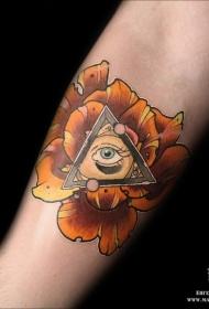 现代传统风格彩色花朵与三角形和眼睛纹身图案