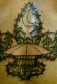 胸部简约鸢尾的城市景观纹身图案